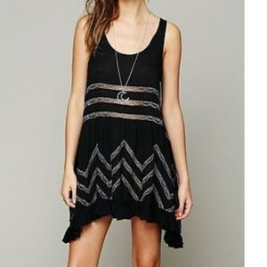 Free People Voile & Lace Trapeze Slip Black Combo